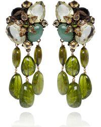 Iradj Moini - Green Clipon Drop Earrings - Lyst