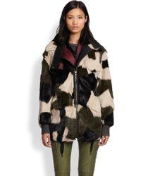 3.1 Phillip Lim Patchwork Rabbit Fur Leather Parka - Lyst