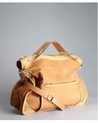 Celine Tan Leather and Suede Large Convertible Top Handle Bag - Lyst