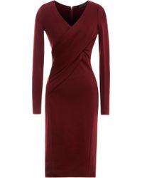 Donna Karan New York Jersey Vneck Dress with Draped Bodice - Lyst