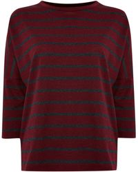 Linea Weekend Ladies Stripe Loop Back Sweat Top - Lyst