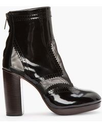 Christopher Kane Black Patent Leather Mesh_trimmed Brogue Boots - Lyst