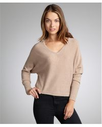 BCBGMAXAZRIA Oatmeal Cashmere and Wool Blend V Neck Wyatt Dolman Sweater - Lyst