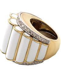 David Webb | Diamond Ring with White Enamel | Lyst