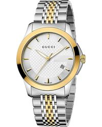 Gucci Gtimeless Collection Stainless Steel and Yellowgold Pvd Watch Silver - Lyst