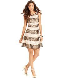 Jessica Simpson Sleeveless Striped Glitter Lace Dress - Lyst