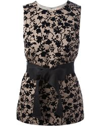 P.A.R.O.S.H. Floral Sleeveless Top black - Lyst