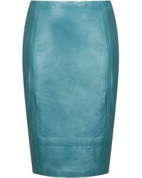 Topshop Leather Panel Pencil Skirt - Lyst