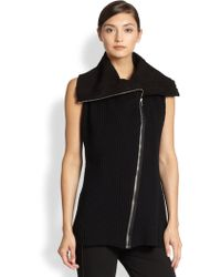 Donna Karan New York Ribbed Wool Cashmere Vest - Lyst
