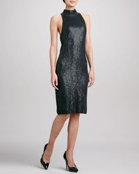 Donna Karan New York Sequined Knit Sleeveless Dress - Lyst