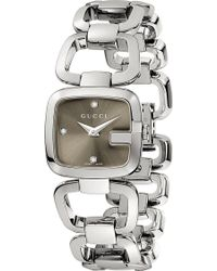Gucci G Collection Stainless Steel and Diamond Watch Grey - Lyst