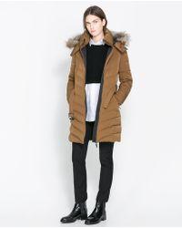 Zara Medium Length Puffer Jacket with Hood - Lyst