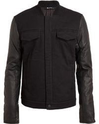 T By Alexander Wang Leather and Corduroy Bomber Jacket - Lyst