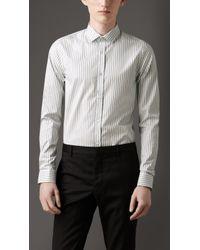 Burberry Slim Fit Striped Cotton Shirt - Lyst