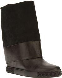 Casadei Flat Mid Calf Boot - Lyst