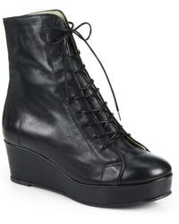 Opening Ceremony - Bumper Leather Laceup Ankle Boots - Lyst