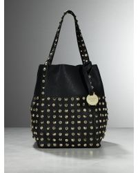 Patrizia Pepe Tote Bag With Studs And Rhinestones - Lyst