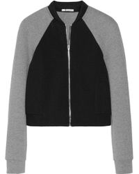 T By Alexander Wang Twotone Neoprene and Jersey Bomber Jacket - Lyst