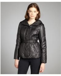 Andrew Marc Black Quilted 'Dakota' Belted And Hooded Down Jacket - Lyst
