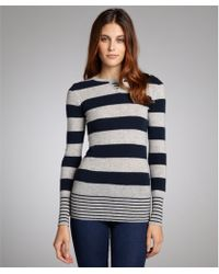 Autumn Cashmere Sweatshirt And Peacoat Striped Cashmere Crewneck Sweater - Lyst