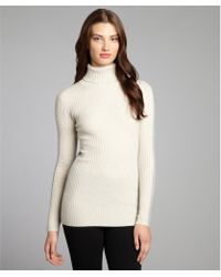 Autumn Cashmere Ivory and Hemp Cashmere Knit Colorblock Rib Turtleneck - Lyst