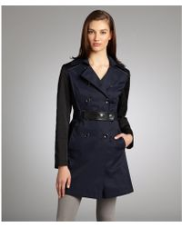 DKNY - Midnight and Black Color-block Cotton-blend Mix Media Belted Trench Coat - Lyst