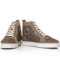 Christian Louboutin Louis Spiked Suede Trainers - Lyst