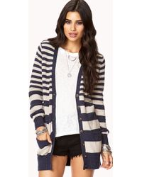 Forever 21 Cozy Striped Cardigan - Lyst