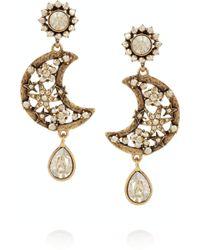 Oscar de la Renta Lunar Gold Plated Crystal Clip Earrings - Lyst