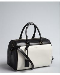Saint Laurent White and Black Colorblock Leather Small Duffel Bag - Lyst