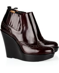 Burberry - Broguedetailed Chelsea Wedge Ankle Boots - Lyst