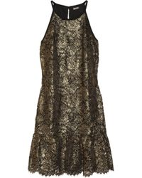 DKNY Lace Dress gold - Lyst