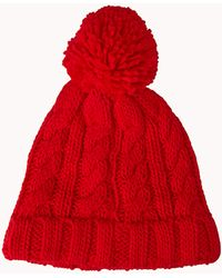 Forever 21 Cable Knit Pom Pom Beanie - Lyst