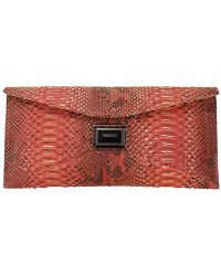 Kara Ross Electra Python Leather Clutch - Lyst