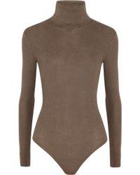 MICHAEL Michael Kors - Ribbed Knit Turtle Neck Bodysuit - Lyst
