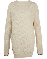 3.1 Phillip Lim Cream Faux Leather Trim Cable-knit Jumper - Lyst