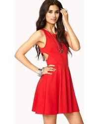 Forever 21 Eye Catching Cut Out Skater Dress - Lyst