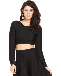 Macy's - Long Sleeve Ribbed Crop Top - Lyst