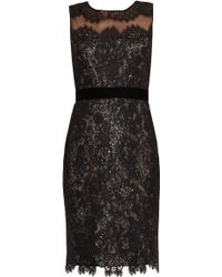 Notte by Marchesa Metallic Lace Cocktail Dress - Lyst