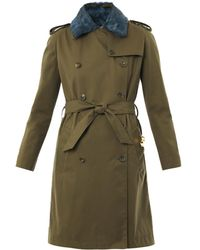 Sophie Hulme - Furcollar Cotton Trench Coat - Lyst