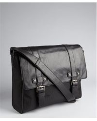Kenneth Cole Black Leather and Nylon Buckle Detail Laptop Messenger Bag - Lyst