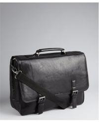 Kenneth Cole Black Leather Buckle Detail Tablet Pocket Convertible Messenger Bag - Lyst