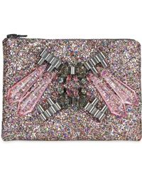 Mawi - Glitter Clutch with Crystals - Lyst