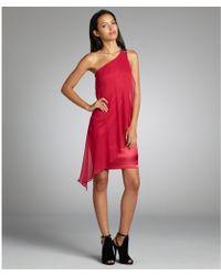 Aidan Mattox Raspberry Silk Chiffon One-Shoulder Embellished Dress - Lyst