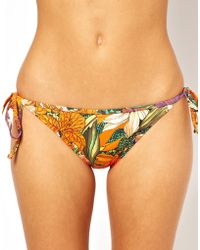 Fred Perry - Asos 70s Floral Frill Tie Side Bikini Pant - Lyst
