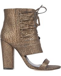 Camilla Skovgaard - Open Toe Textured Leather Ankle Boots - Lyst