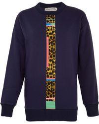 Être Cécile - Navy Cheetah Stripe Sweatshirt - Lyst