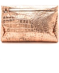 Golden Lane - Small Croc Print Duo Clutch - Lyst