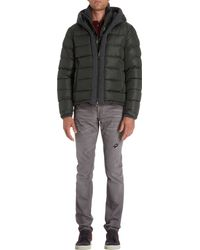 Moncler Knit Trimmed Hooded Puffer Blouson green - Lyst