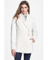 Vince Camuto Wool Blend Knit Toggle Coat - Lyst